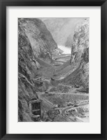 Framed Looking upstream through Black Canyon toward Hoover Dam site showing condition after diversion of Colorado River