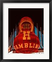 Framed Neon gambling sign on Freemont Street in historic Las Vegas