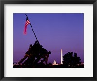 Framed Iwo Jima Memorial at dusk, Washington, D.C.
