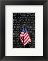 Framed American flag at Vietnam Veterans Memorial