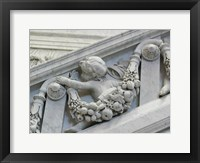 Library of congress architecture detail child turned Framed Print