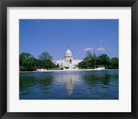 Pond in front of the Capitol Building, Washington, D.C., USA Framed Print