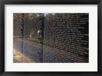 Text on a memorial wall, Vietnam Veterans Memorial Wall, Vietnam Veterans Memorial, Washington DC, USA Framed Print