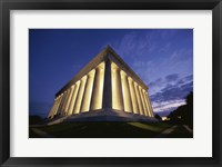 Framed Low angle view of the Lincoln Memorial lit up at night, Washington D.C., USA
