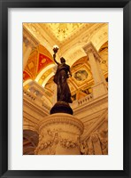 Framed USA, Washington DC, Library of Congress interior with sculpture