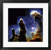 Framed Gaseous pillars of M-16 Eagle Nebula, Star birth photographed by Hubble Space Telescope