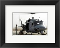 Framed US Marine Corps UH-1N Huey helicopter