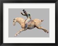 Framed ceramic female polo player, from northern China, Tang Dynasty
