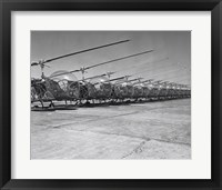 Framed Helicopters in a row, Bell H-13D, Korean War