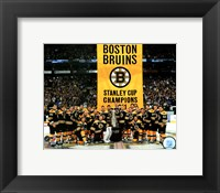 Framed Boston Bruins raise their 2011 Stanley Cup Chapionship Banner