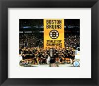 Framed Boston Bruins raise their 2011 Stanley Cup Chapionship Banner
