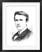 Framed Thomas A Edison etching