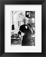 Framed Thomas Edison with the first light bulbs