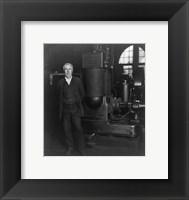 Framed Thomas Edison and his original dynamo 1906