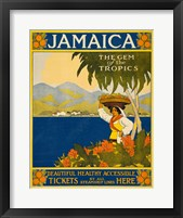 Framed Jamaica, the gem of the tropics, travel poster, 1910