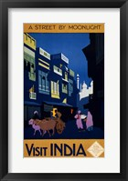 Framed Visit India, a street by moonlight, travel poster 1920