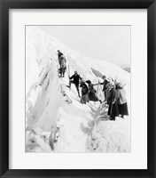 Framed Group of men and women climbing Paradise Glacier in Mt. Rainier National Park, Washington