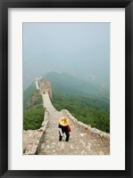 Framed Tourist climbing up steps on a wall, Great Wall of China, Beijing, China