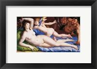 Framed Bronzino Venus, Cupido and Satyr
