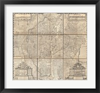 Framed 1652 Gomboust 9 Panel Map of Paris, France