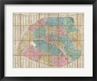 Framed 1867 Logerot Map of Paris, France