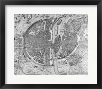 Framed Map of Paris circa 1550