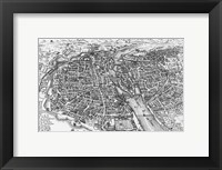 Framed Paris bird's eye view 17th century
