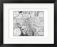 Plan de Paris - black and white Framed Print