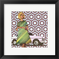 Girl with Car - mini Framed Print