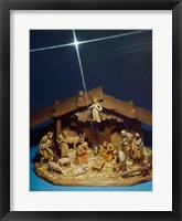 Framed Close-up of figurines depicting a nativity scene