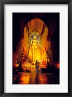 Low angle view of a statue of Buddha, Ananda Temple, Bagan, Myanmar Framed Print