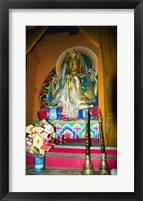 Statue of Buddha in a temple, Paugha, Annapurna Range, Nepal Framed Print