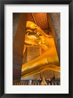 Statue of reclining Buddha in a Temple, Bangkok, Thailand Framed Print