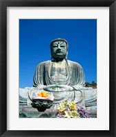 Daibutsu Great Buddha, Kamakura, Honshu, Japan With Flowers Framed Print