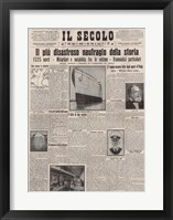 Framed Italian Front Page about the Titanic Disaster