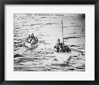Framed Titanic Life Boats on Way to Carpathia