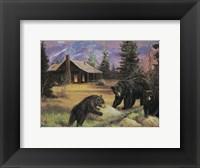 Framed Bears on Logs