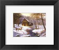 Framed Log Cabin with Deer