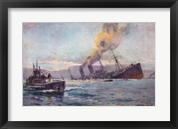 U-boat Sinking a Troop Transport Ship Framed Print