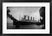 Framed Titanic Leaving Harbor