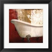 Framed Red Bathroom & Ornament I