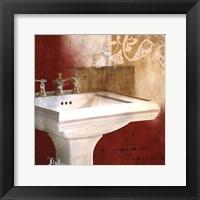 Framed Red Bathroom & Ornament II