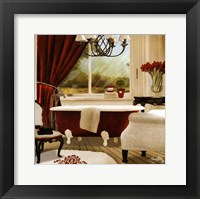 Framed Red Chandelier Bath II