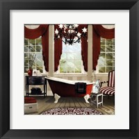 Framed Red Chandelier Bath I