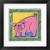 Framed Whimsical Pig