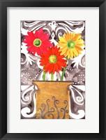 Framed 3 Tin Flowers