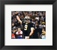 Framed Drew Brees Sets the NFL Single-Season Passing Yards Record with Overlay