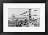 Framed Manhattan Bridge Construction, 1909 far