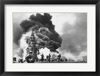 Framed USS Bunker Hill Hit by Two Kamikazes