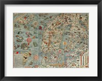 Framed Carta Marina, Map of Scandinavia